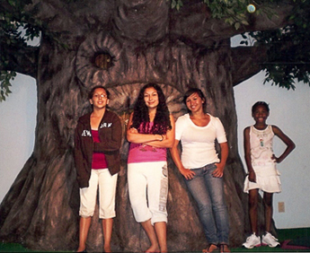 Young Ladies By a Tree